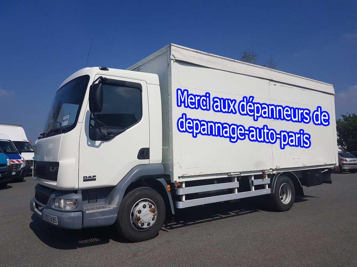 depannage sur camion porteur vers parking autoroute